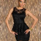 Plus Size XL Black Lace Dress High Quality Short Sleeveless Peplum Mini Dress W203010A