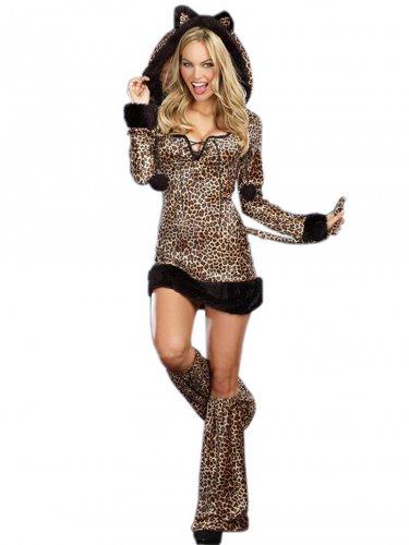 Sexy Animal Costumes 3PCS Winter Cheetah Luscious Costume W168614
