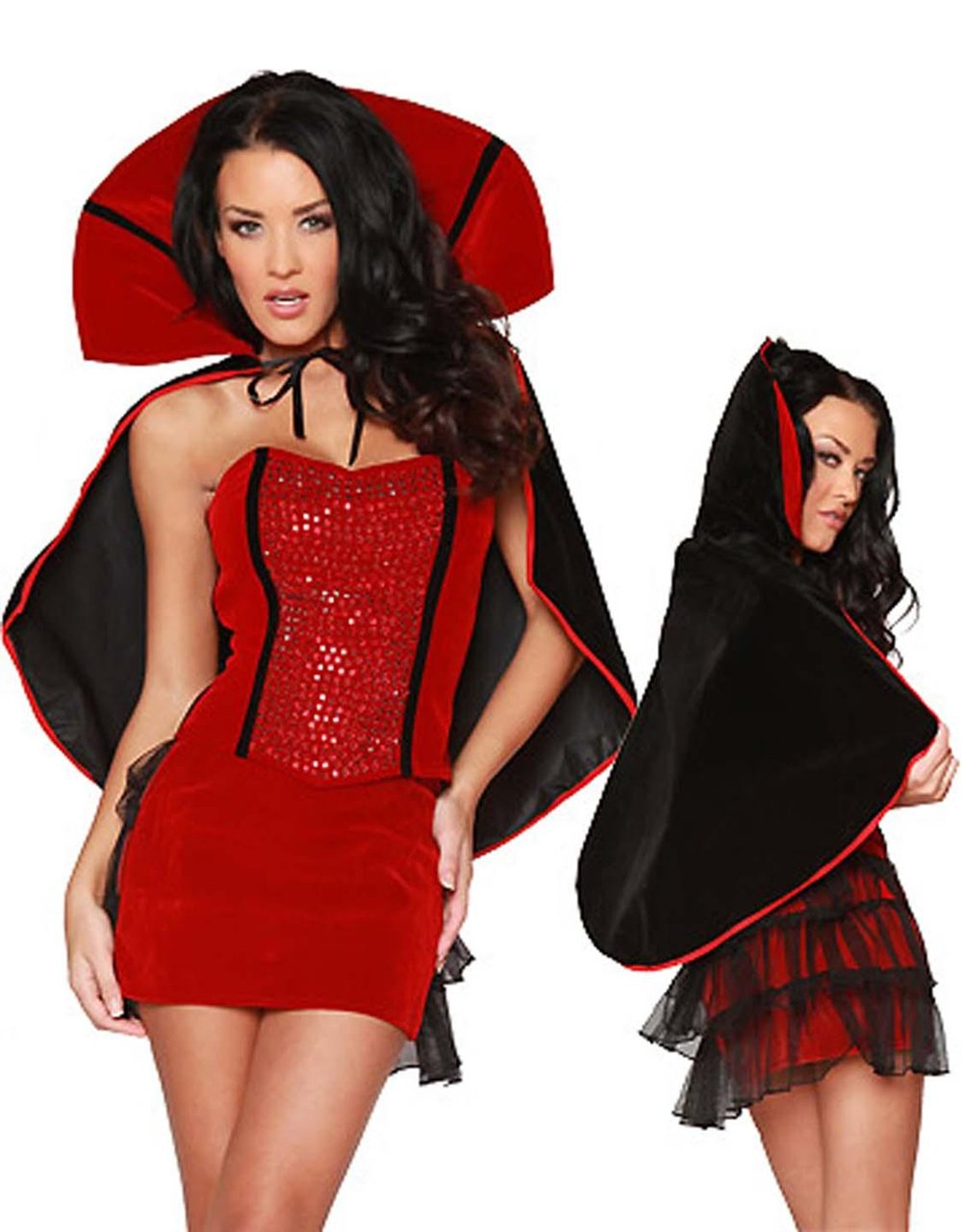 Rhinestone Studded Strapless Corset Sexy Vampire Halloween Costumes Cosplay Outfit W847041