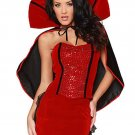 Rhinestone Studded Strapless Corset Sexy Red Vampire Halloween Costumes Cosplay Outfit W847041