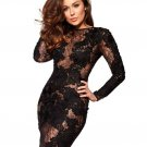 Plus Size XL Size High Quality Black Fashion Lace Stretch Long Sleeve Dress W850328B