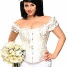 White Embroidered Peasant Corset Top Plus Size XL-6XL W491176A