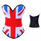 Gothic Burlesque Basque Corset Halloween Costume UK flag corset W161873