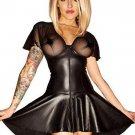 Free Shipping Black V-neck Sexy Leather Dress W850713