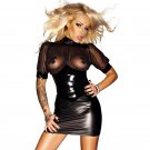 Sexy Mesh Club Mini Dress Kleid Vinyl Leather Clubwear Vedtido De Festa Sexy Nightwear 860709