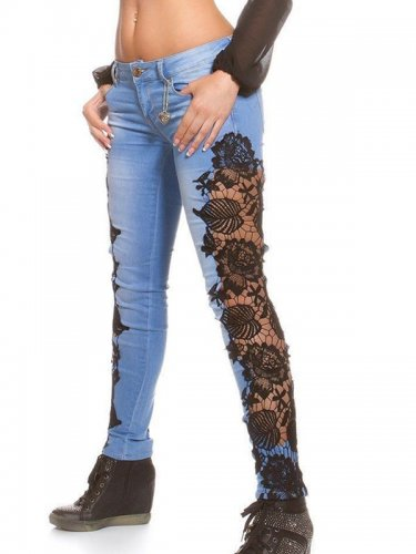 Popular Fashion Woman Black Lace Patchwork Denim Jeans Pants WT32623A