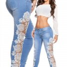 Plus Size XL 2XL Size White Lace Patchwork Denim Jeans Pants WT32623B