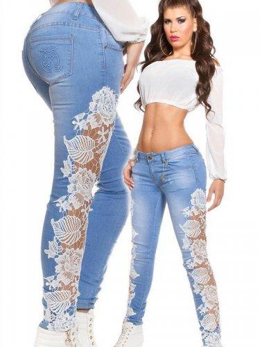 Plus Size XL 2XL Size White Lace Patchwork Denim Jeans Pants WT32623B