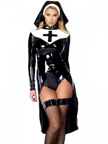 Halloween cosplay Black Women sexy nun costume Vinyl Leather Cosplay Halloween Costume W850640