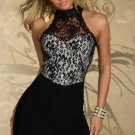 Lace White Halter Neck Off Shoulder Fashion Transparent Slim Short Dress W203105B