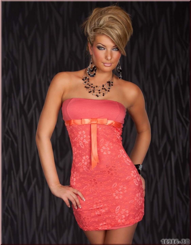 Strapless Pink Bowknot Ribbon Elegant Evening Mini Sexy Party Dress W203112C