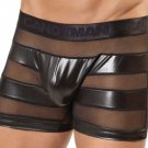 Black Sheer Sexy Vinyl Faux Leather Mesh Men Pants Shorts W860819