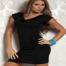 Fashion V-neck Mini Dress With Pucker Front And Short Sleeves Dress W403261