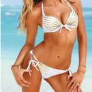M Size Tri-Cup Hot Fashion White Sexy Bikini With Straps And Color Streak Accents W399438N