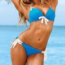 Hot Fashion S Size Blue Sexy Swimwear With White Straps And Tri-cup W9438D