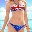 S/M/L Size Sexy Union Jack Flag Print Hot Bikini With Halter Neck And White Dotted Accents W399452A