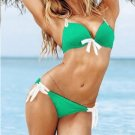 Green Color L Size Tri-cup Hot Sexy Swimwear With White Straps Ties W399438C