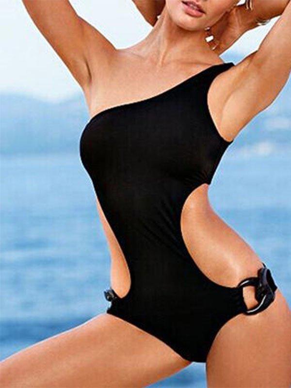 S/M/L/XL Size Black One Piece Hot Sexy One Shoulder Strap Swimwear With Keyhole Sides W629716A