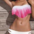 Gradient White Pink Color L Size Fringe Accents Hot Sexy Swimsuit For Girls W399402L
