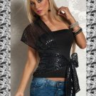 Black Sequin Detail One Size Hot Sexy Clubwear Top With Strap Ties Side W3307