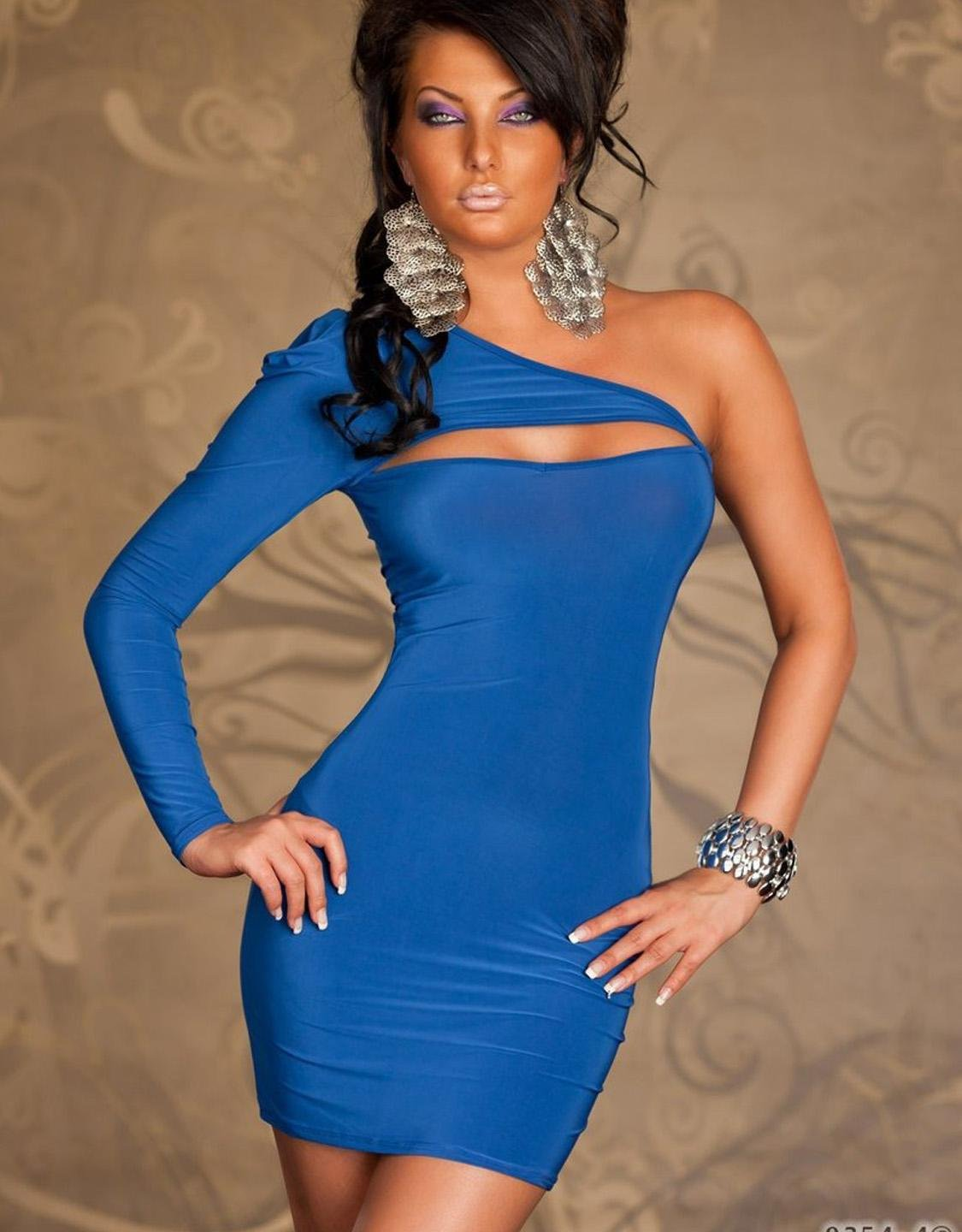 One Size Hot Fahion One Shoulder Blue Bodycon Sexy Dress For Women W203121D