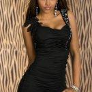 New Fashion Black Shoulder Strap Sequin Detail M Size Sexy Clubwear With Pucker W3338B