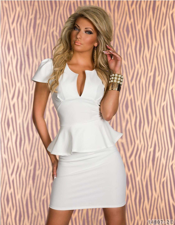 White Color M/L/XL Size U-Neck Ol Peplum Fashion Sexy Cocktail Dress W203078A