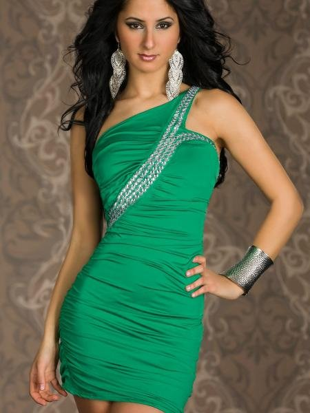 One Shoulder Sequin Accents One Size Hot Fashion Green Sexy Bollywood Club Dress W203342D