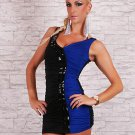 Leather Details Front V-neck One Size Blue And Black Hot Sexy Mini Dress With Sleeveless W203402A