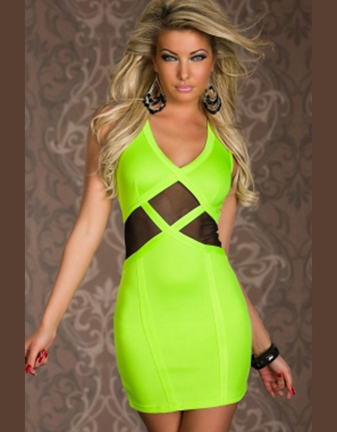 New Hot Sale Light Green V-neckline One Size Bodycon Sexy Dress W203432A