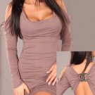 Grey Color Hot Sexy M Size Long Sleeves Night Out Clubwear With Rinestone Ties Back W203412A