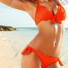Orange Color Hot Fashion S Size Tri-cup Sexy Bathing Suit With Halter Ties W9451F