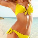 Yellow Color Briefs Ties Details Hot Fashion M Size Sexy Swimswear With Tri-cup Bras W9451C