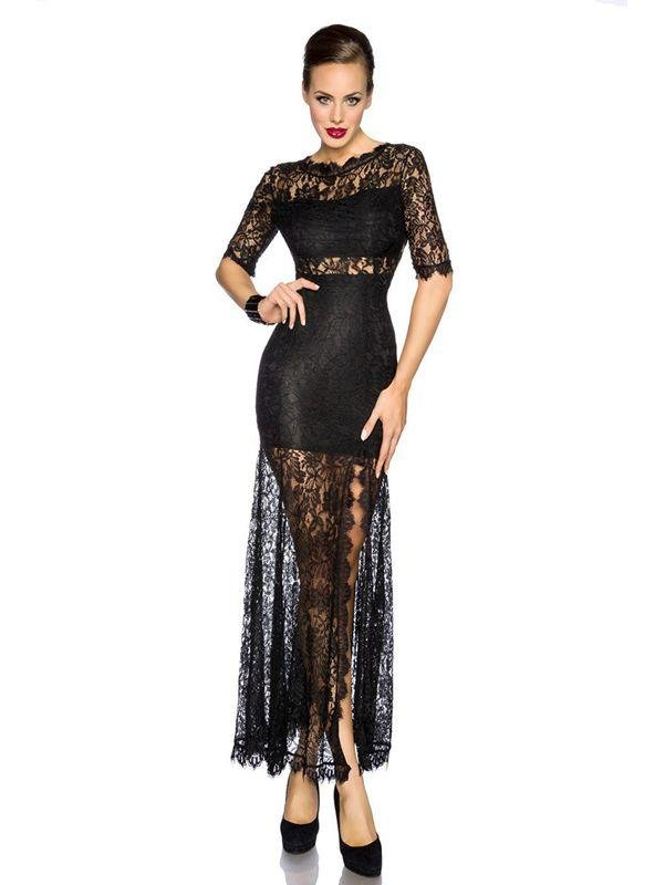 Short Lace Sleeves New Fashion M-XL Size Black Sexy Dress With Long Floral Lace Trim W850715