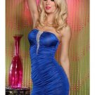 Rhinestones Details M/L Size New Fashion Blue Color Sexy Mini Dress With Pucker Bodice W123314B