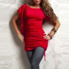 Scrunch Hot Sale New Fashion Red Scoop Neckline One Size Sexy Mini Dress For Women W203289C