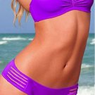 Keyhole Briefs Details Hot Fashion S/M/L Size Purple Strapless Sexy Bathing Suits W619444E