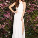 High Slit Side Long White M Size Fashion Sexy Women Evening Dress With Keyhole Details  W851169B