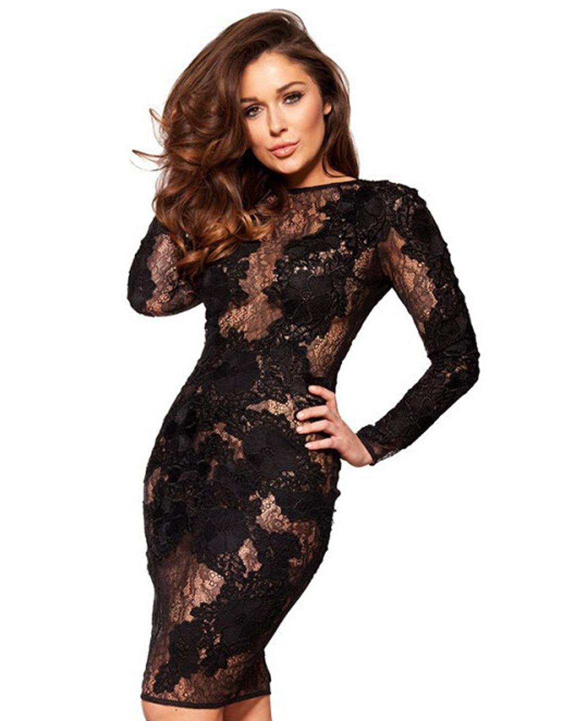 Floral Lace New Fashion Long Sleeve L Size Black Sexy Dress With Scoop Neckline W850328A