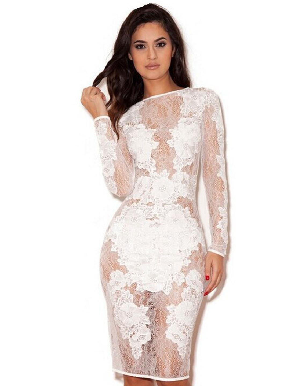 Fashion White Lace Stretch Long Sleeve M/L/XL Size Scoop Neckline Women Dress W850328B