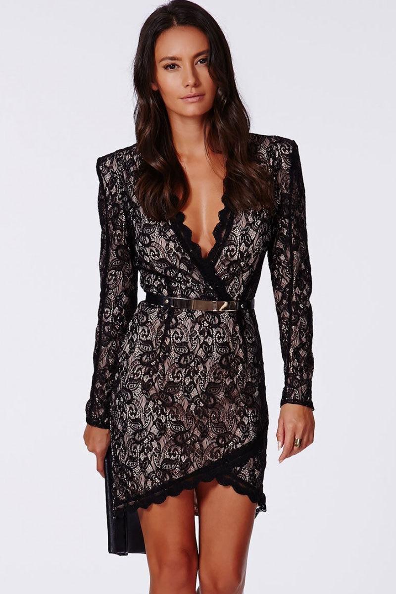 Black Long Sleeve M/L/XL Size Black Eyelash Lace Wrap over Mini Dress With Belt W850408