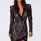 Black Long Sleeve M/L/XL Size Black Eyelash Lace Wrap over Mini Dress With Belt W850408