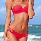 Hot New L Size Red Fashion Strapless Sexy Keyhole Cut Out Swimming Sets W399444A