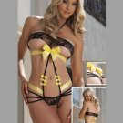 Sexy Open Cup One Size  Yellow  Halter Ties With Butterfly Accents W275335A