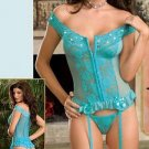Blue Hot Fashion One Size G-String Off The Shoulder Lace Lingerie For Women W5430