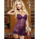 Fashion Hot Sexy Purple G-String M-L Size Floral Lace Lingerie With Keyhole Cut Out Back W655556C
