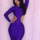 New Design Dark Purple M-XL Size Sides Cut Out Women Dress W3225B