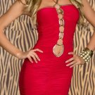 Fashion Keyhole Front Red One Size Off The Shoulder Sexy Dress With Halter Ties W3325B