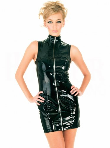 Hot Sale Sleeveless Black Leather S-XXL Size Mini Dress With Zippers Front W35821