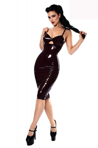 Fitted Bodice Black Leather Keyhole Cut Out Front S-XXL Size Sexy Dress With Spaghetti Strap W35823